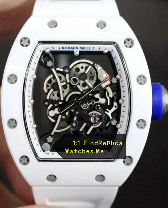 Richard Mille RM 055 White Blue Time Scale Button With Side Black 08A