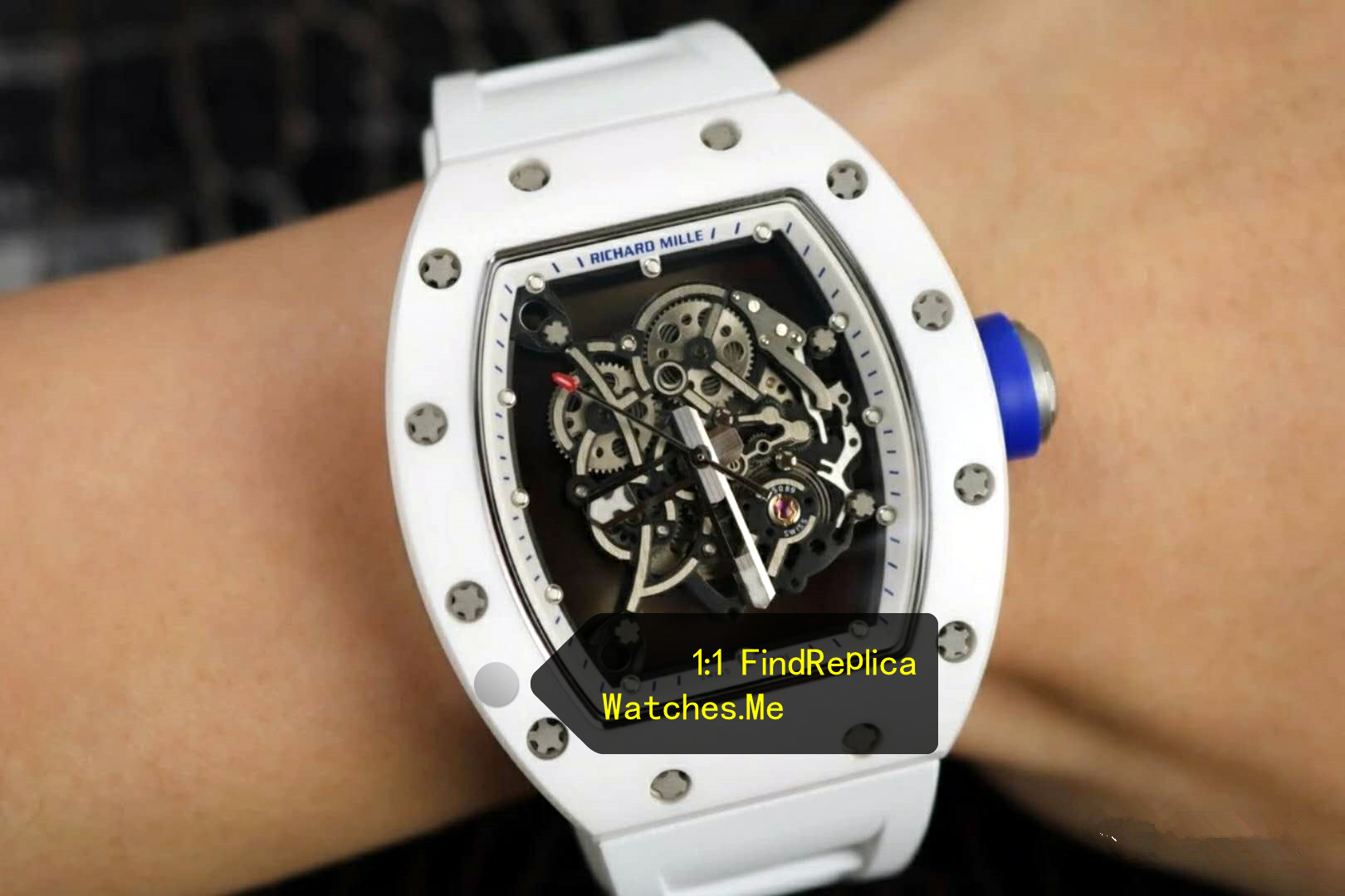 Fake Richard Mille RM 055 White Blue Time Scale and Button With Side Black 08A on the Wrist