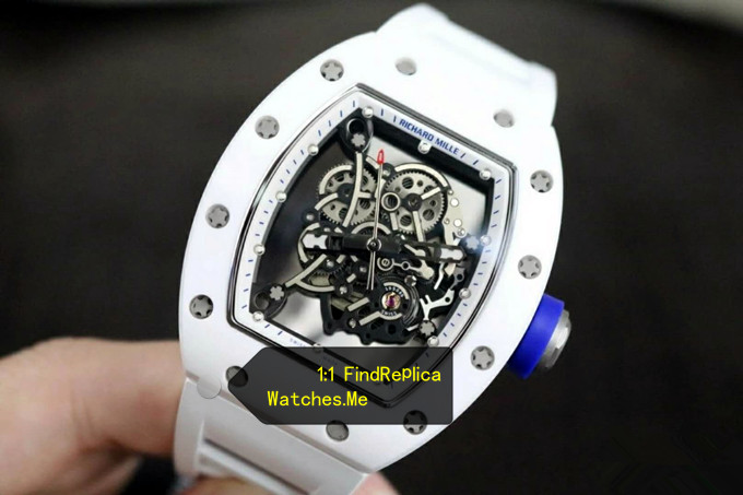 Fake Richard Mille RM 055 White Blue Time Scale and Button With Side Black 08A
