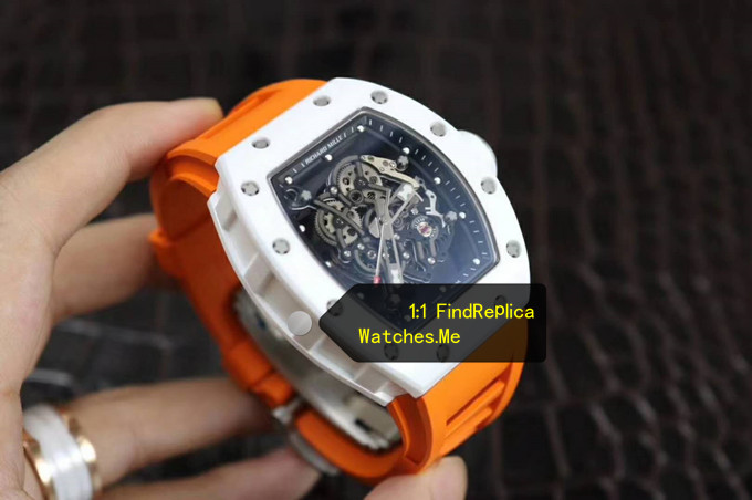 Replica Richard Mille RM 055 With Orange Strap with white side