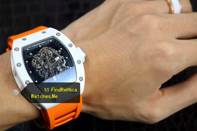 Replica Richard Mille RM 055 With Orange Strap on the Wrist