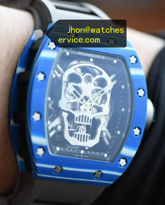 2020 True Tourbillon Blue Richard Mille RM 52-01 Skull replica watch
