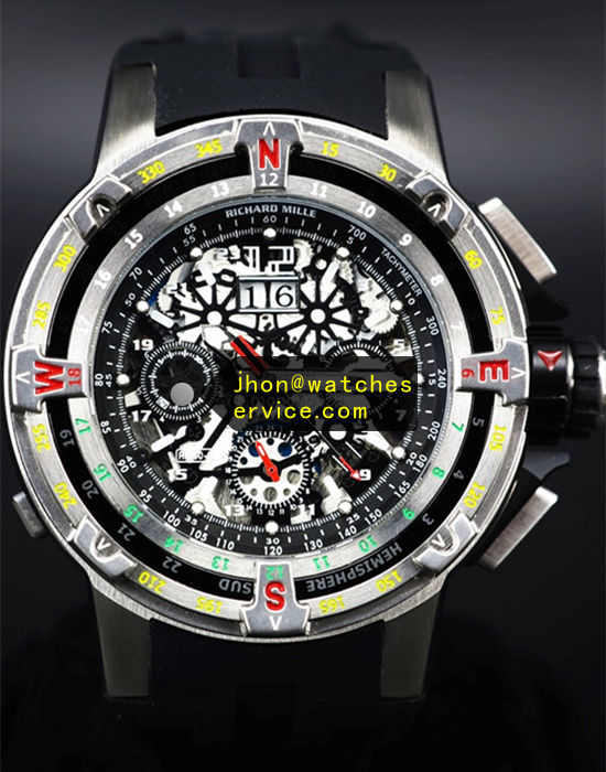 50MM Richard Mille RM 60-01 Round Black Galvanized Metal