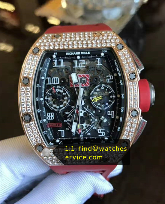 Richard Mille RM 011 Diamonds With Red Strap Watch