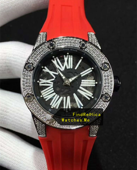 Richard Mille RM 033 White Diamond Bezel Red Rubber Strap