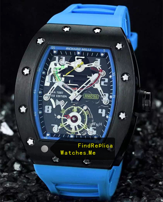 Richard Mille RM 036 Black Bezel With Blue Rubber Strap