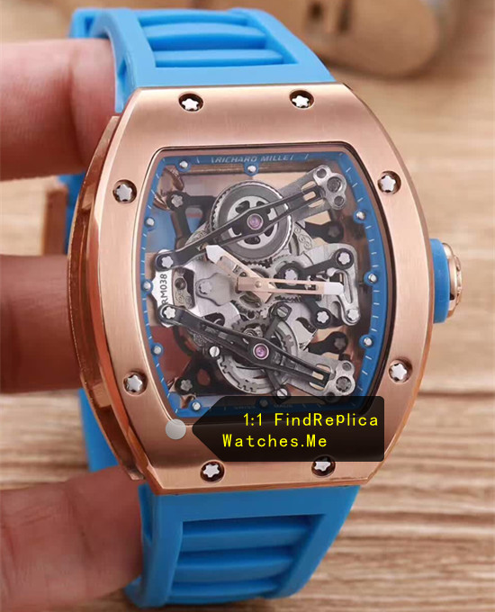 Richard Mille RM 038 Rose Case Navy Blue Strap JJ-Factory