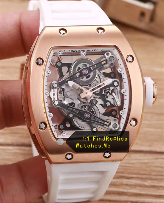 Richard Mille RM 038 Rose Gold Case White Rubber Strap JJ-Factory