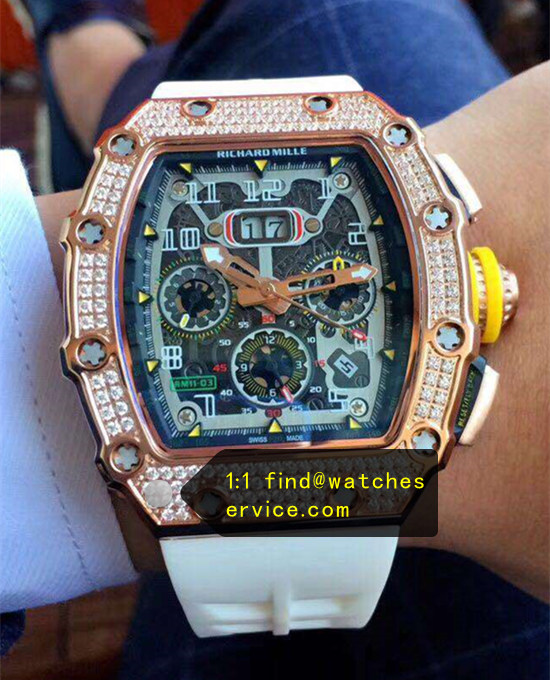 Richard Mille RM 11-03 Diamonds White Strap Watch JJ-Factory