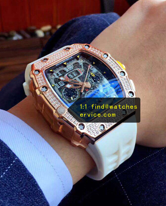 Fake Richard Mille RM 11-03 Diamonds White Strap Watch JJ-Factory