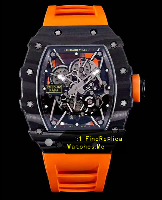 Richard Mille RM 35-02 Carbon Fiber With Orange Rubber Strap