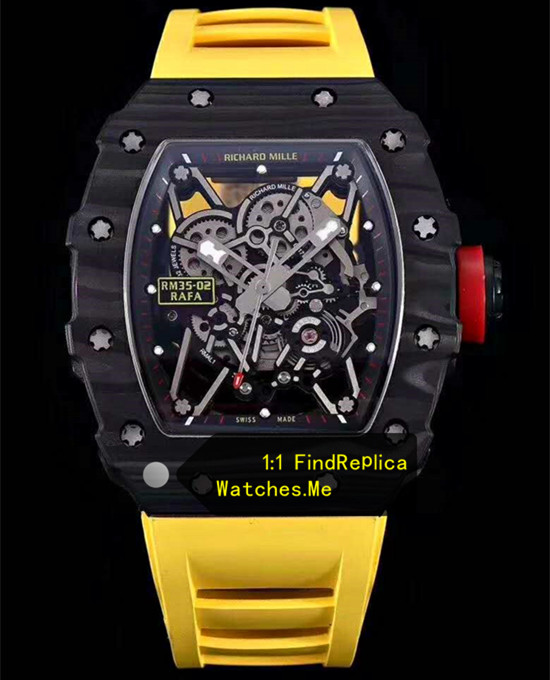 Richard Mille RM 35-02 Carbon Fiber With Yellow Rubber Strap