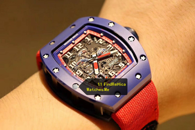 Fake Richard Mille RM 030 Blue Case Red Inner Frame With Red Nylon Strap on the Wrist