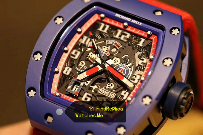 Fake Richard Mille RM 030 Blue Case Red Inner Frame With Red Nylon Strap HD Face