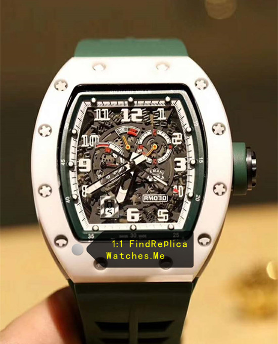 Richard Mille RM 030 LMC Green Hollow Strap With Black Side