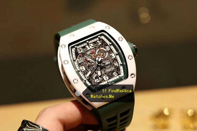Replica Richard Mille RM 030 LMC Green Hollow Strap With Black Side