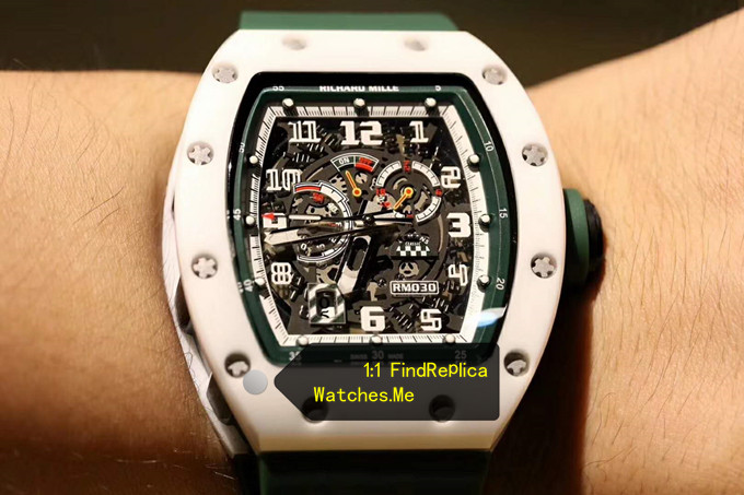 Replica Richard Mille RM 030 LMC Green Hollow Strap With Black Side on the Wrist