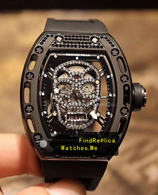 Fake Richard Mille RM 052 Skull Black Diamonds Watch