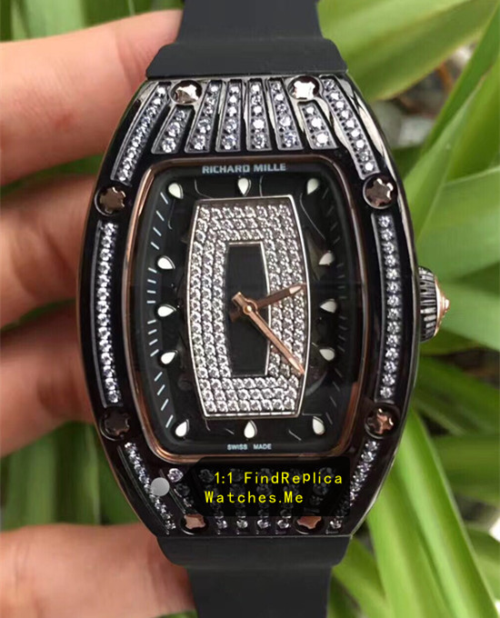 Richard Mille RM 07-01 Ladies All Black With Big Diamond