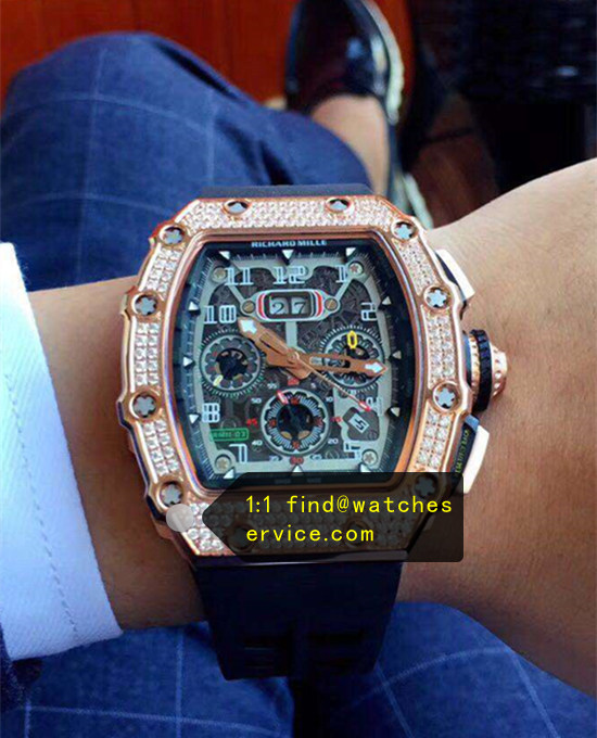Richard Mille RM 11-03 Diamonds Black Strap Watch JJ-Factory