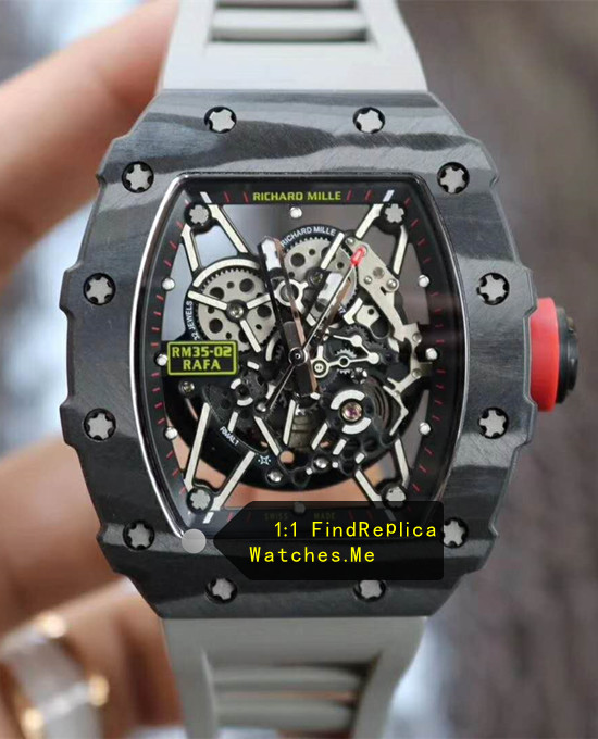 Richard Mille RM 35-02 Black Carbon Fiber With Gray Strap