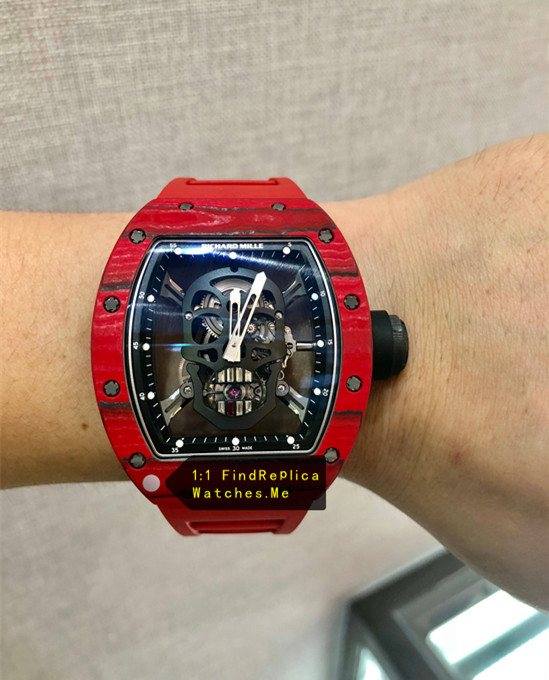Replica Richard Mille RM 52-01 Red Carbon Fiber on the wrist