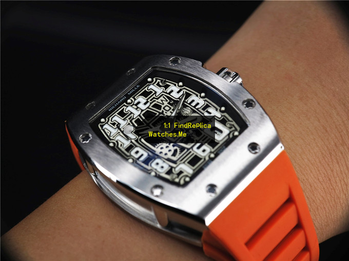 Fake Richard Mille RM 67-01 Titanium With Orange Strap Watch