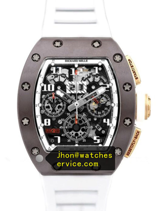 Richard Mille RM 011 Brown Ceramic White Rubber Strap