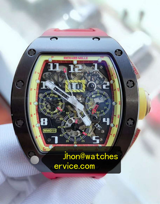 Richard Mille RM011 Yellow Inner Frame Red Rubber Strap