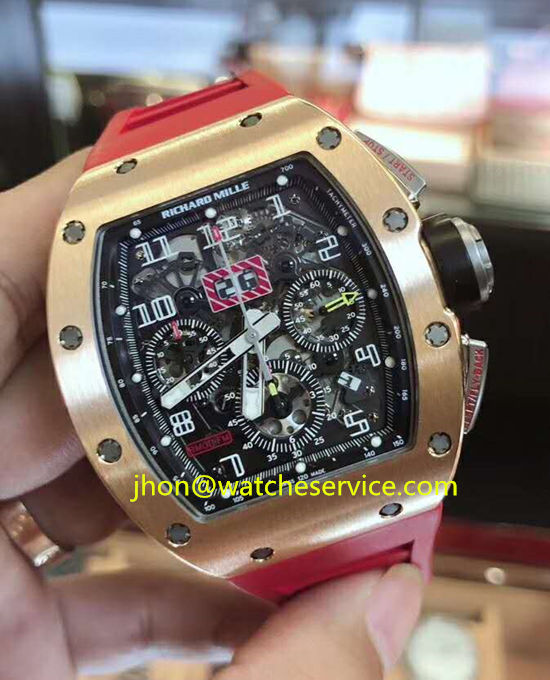 Red Strap Replica Richard Mille RM-011-FM 18K-Gold Watch