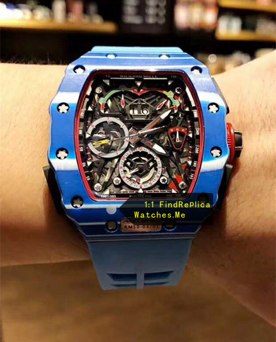 Replica Blue Richard Mille RM 50-03 McLaren F1 Sport Watch on the Wrist