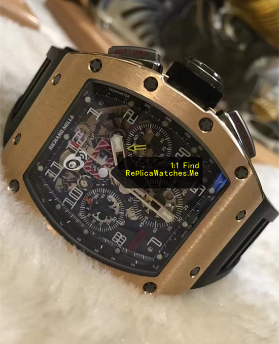 Replica Richard Mille RM 011-FM Flyback Chronograph Rose Gold Face Detail