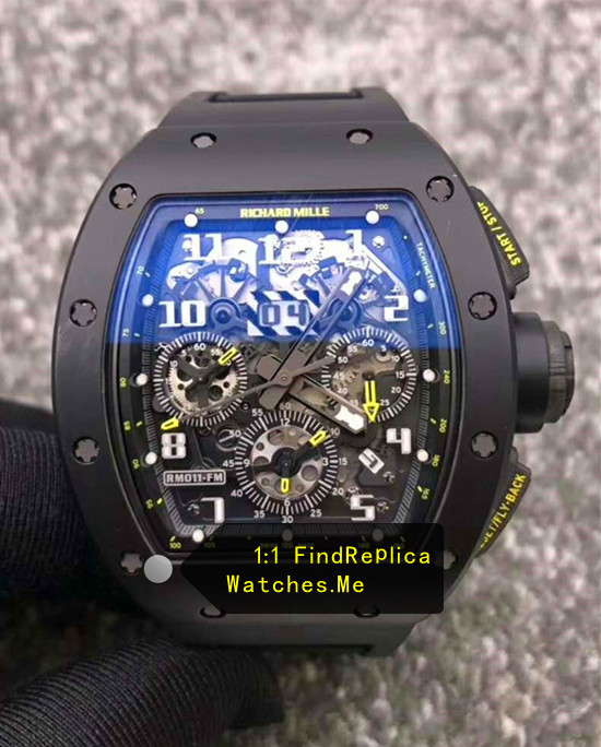 Richard Mille RM 011 Black Ghost With Yellow Letter Chronograph
