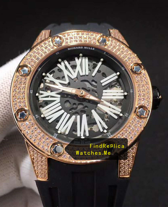 Replica RM 033 Rose Gold With Diamond Bezel Watch