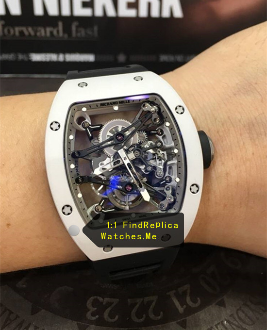 Replica RM 038 White Bezel Black Strap Watch From H-maker factory