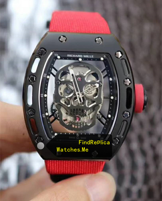 Richard Mille RM 052 Black Skull Red Nylon Strap Watch