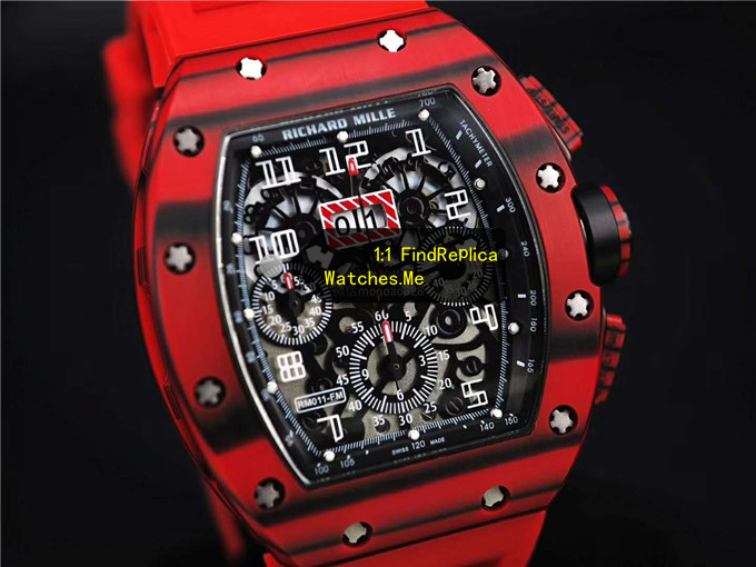 Replica RM 11-03 Black Strips Red Carbon Fiber Watch