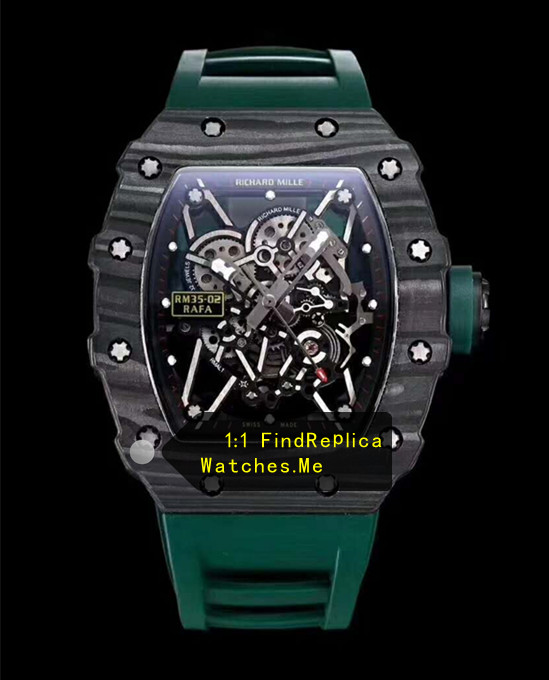 Richard Mille RM 35-02 Wooden Carbon Fiber Dark Green Strap Watch