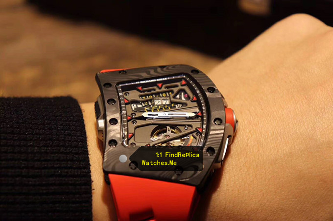 Replica RM 70-01 Alain Prost Tourbillon Red Time Scale And Strap Watch on the Wrist