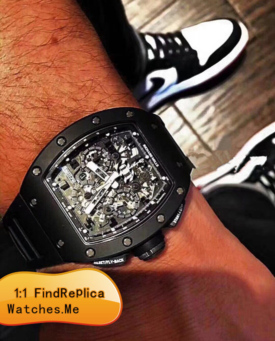 Replica Richard Mille RM 011 Black Ghost Chronograph Wrist Show