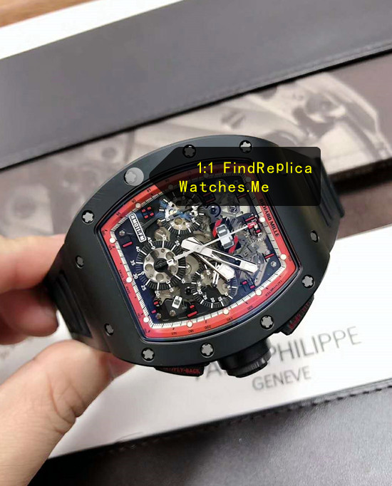 Replica Richard Mille RM 011 Black With Red Inner Frame Red Hour Mark Watch