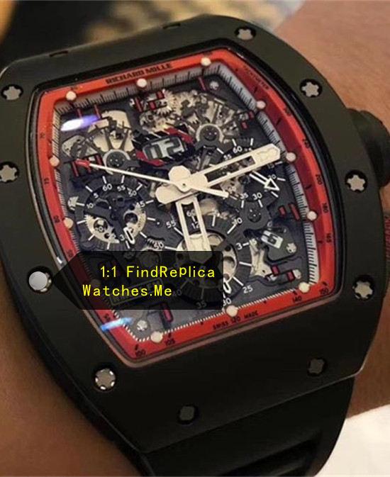 Replica Richard Mille RM 011 Black With Red Inner Frame Red Hour Mark Face