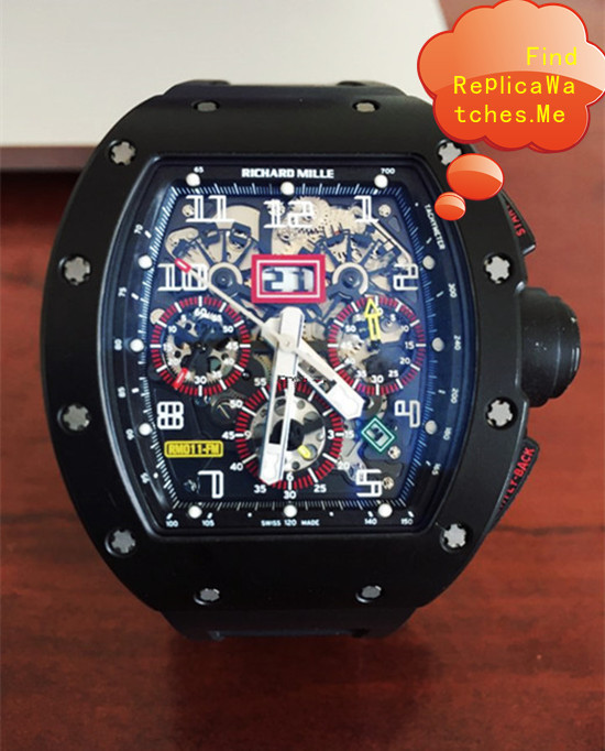 Replica Richard Mille RM 011-FM All Black Red Circle Watch