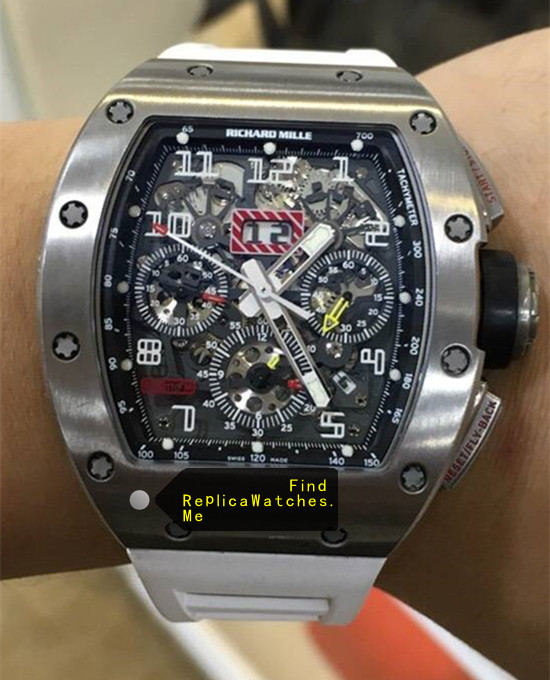 Richard Mille RM 011-FM White Rubber Strap Cheap