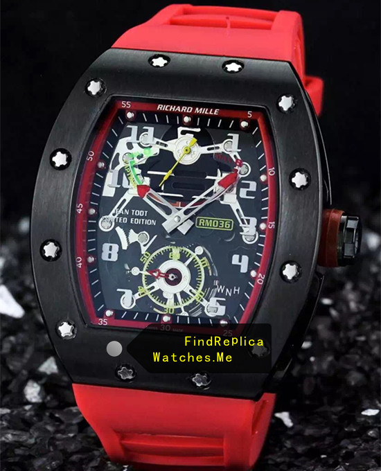 Richard Mille RM 036 Black Bezel With Red Rubber Strap