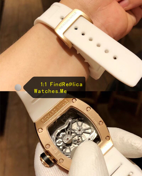RM 053 Rose Gold Back with white rubber strap