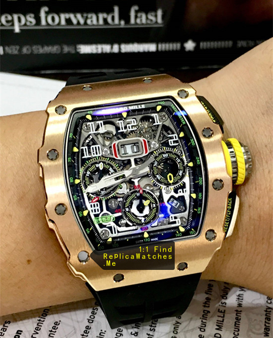 Replica Richard Mille RM 11-03RG All Full Polished Bronze Titanium on the Wrist