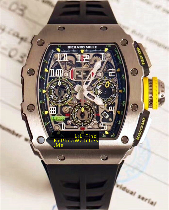 Replica RM 11-03RG Polished Silver Titanium Watch