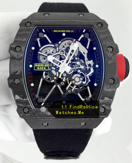 Richard Mille RM 35-01 Rafa Black Carbon Fiber With Nylon Strap