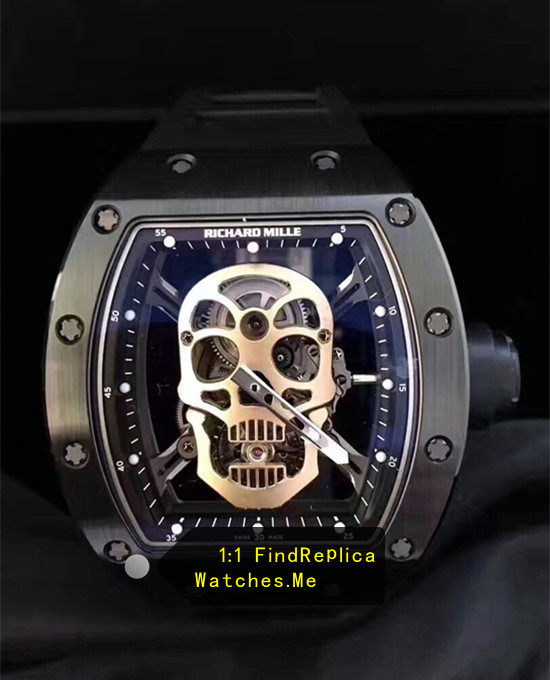 Replica Richard Mille RM 52-01 Black Ceramic With Steel With black rubber strap